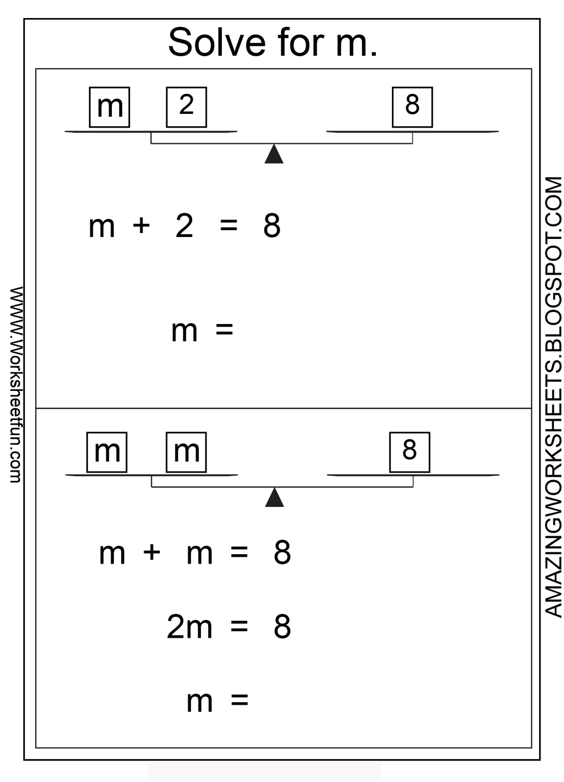 small resolution of Solving Equations With Balance Scales Worksheets   Printable Worksheets and  Activities for Teachers