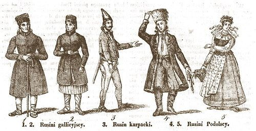 "Ruthenian people of Galicia, the Carpathians, and Podole in an 1836 etching. Ruthenians in their broadest sense include Ukrainians, Belorussians, and other non-Russian Eastern Slavic peoples. However, during the rise of Ukrainian nationalism in the 18th and 19th centuries, the term Ruthenian was gradually phased out in favor of ""Ukrainian."""