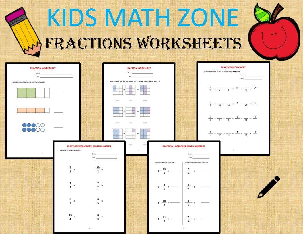 Fractions 36 Worksheets Equivalent Fractions Mixed Numbers Adding Fractions Fractional Numbers Ratios Homeschool Teacher Grade 4 Math Workbook Math Worksheets Kids Math Worksheets [ 816 x 1056 Pixel ]