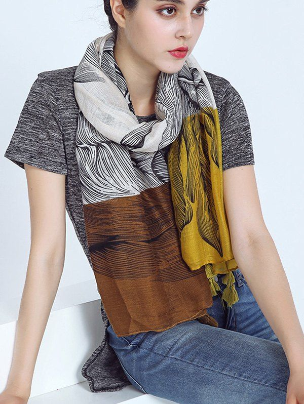 Voile Eagle Print Color Block Tassel Scarf - YELLOW