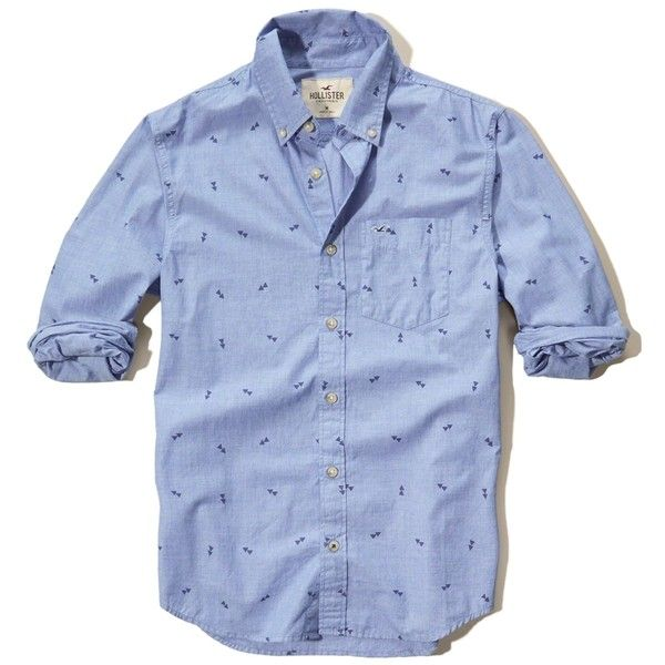 ($40) Hollister Patterned Poplin Shirt featuring polyvore men's fashion men's clothing men's shirts men's casual shirts blue mens slim fit casual shirts mens blue leopard print shirt mens slim fit shirts mens print shirts mens pocket t shirts
