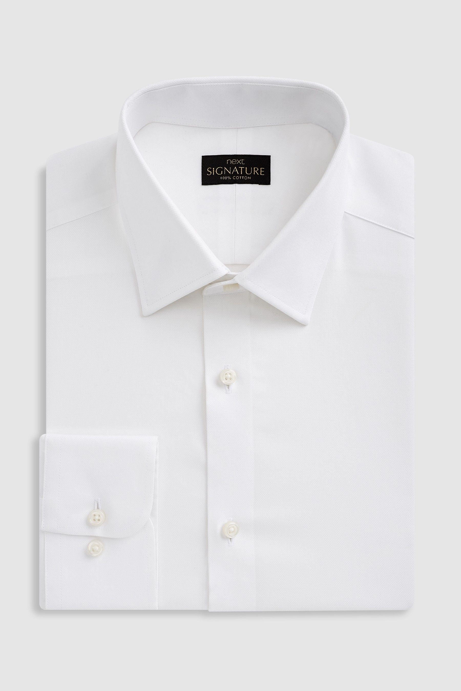 Mens Next White Slim Fit Single Cuff Signature Textured