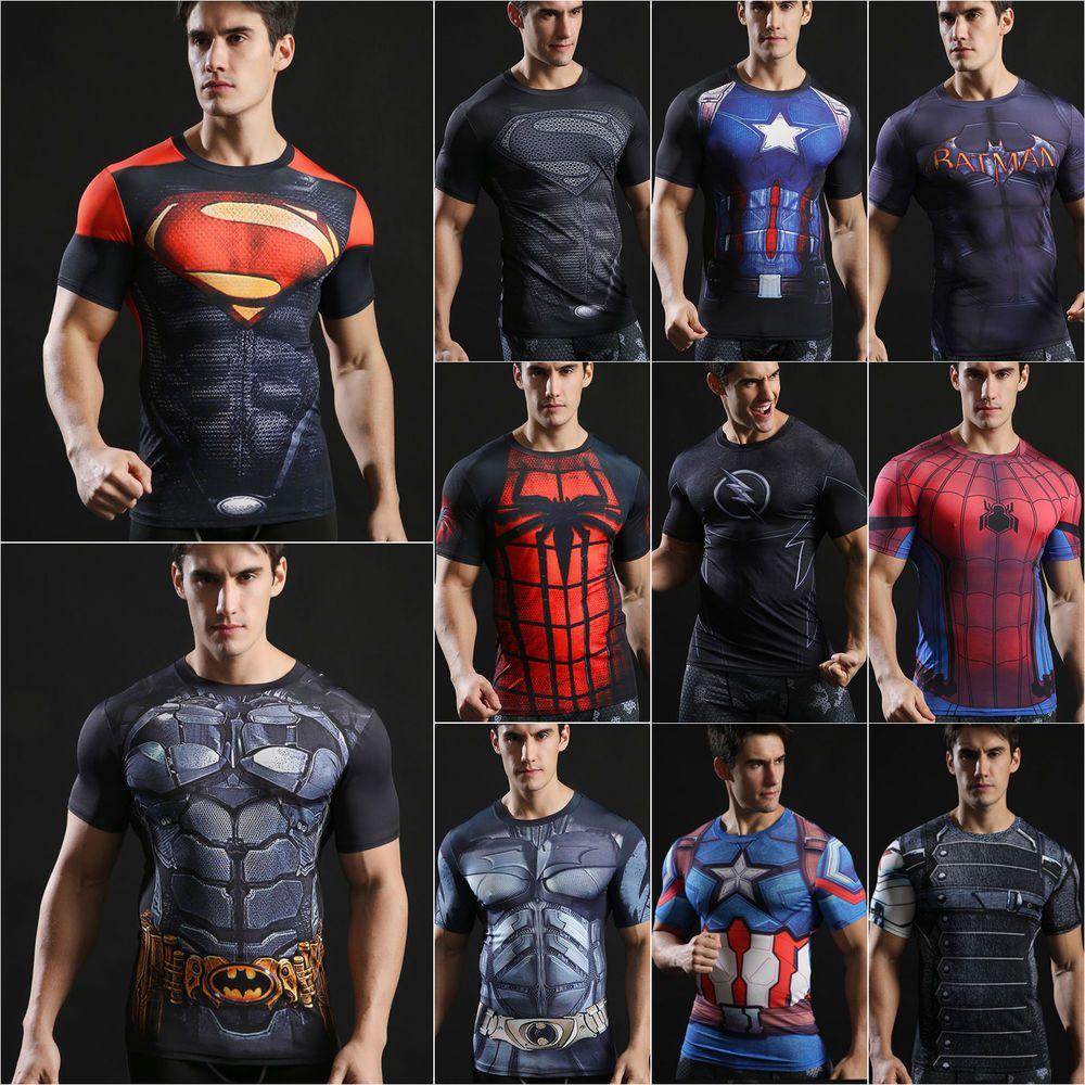 Men Marvel T-shirt Compression Superhero Sport Long Sleeve Tops Gym Tee Shirts