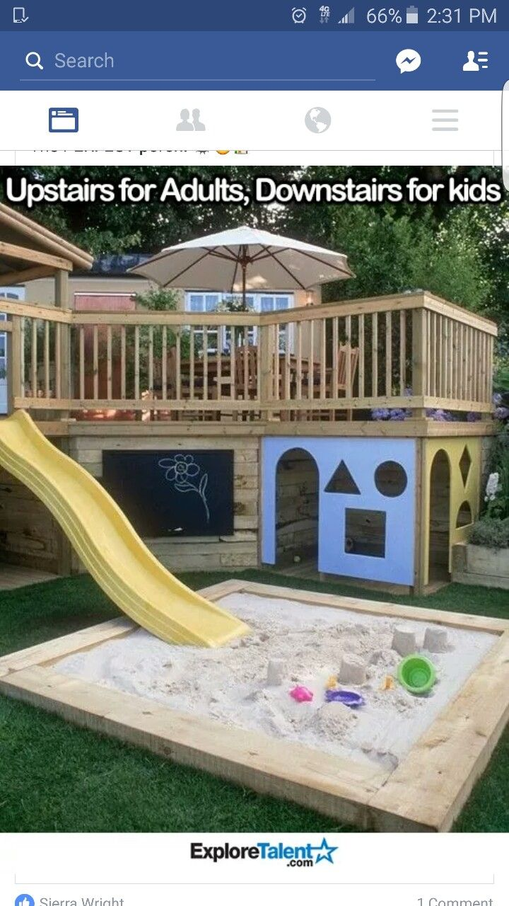 playhouse built under deck/porch with slide into sandbox - this is awesome  for kids!