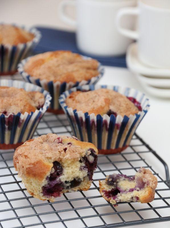 enkle blåbærmuffins