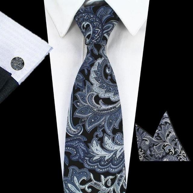 GUSLESON Fashion Cotton Neck Tie Pocket Square Cufflins Floral Paisley