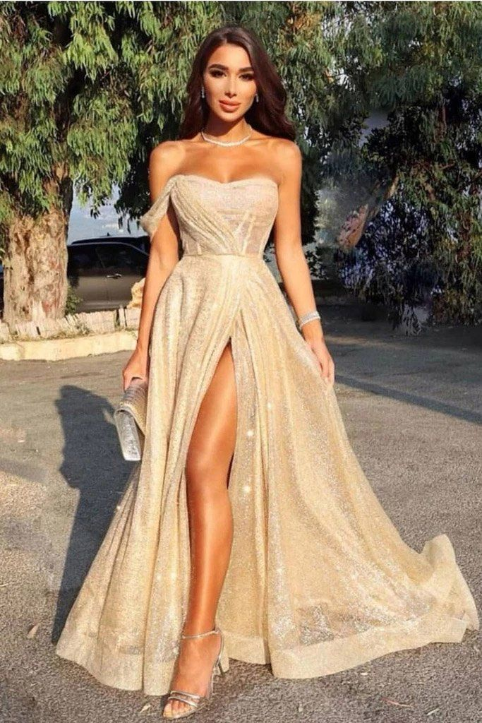 Queen Sweetheart One Shoulder Off the Shoulder Sequins Prom Dresses STA15314