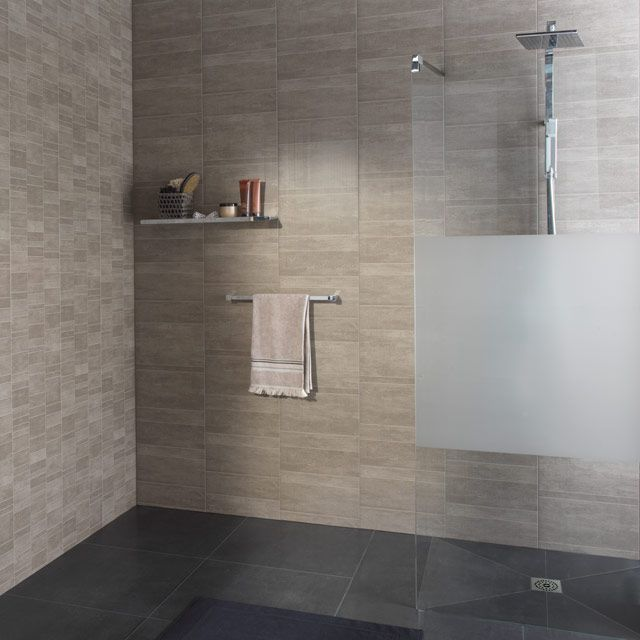 Lambris pvc grosfillex element s taupe lambris pvc for Salle bain lambris