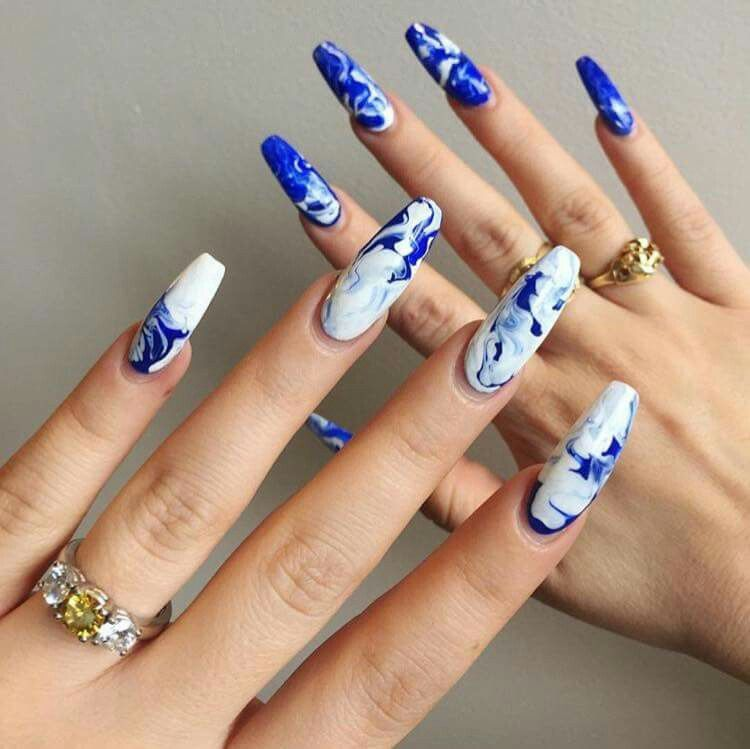 Marble Blue And White Nailed It Pinterest Marble Nails Nails