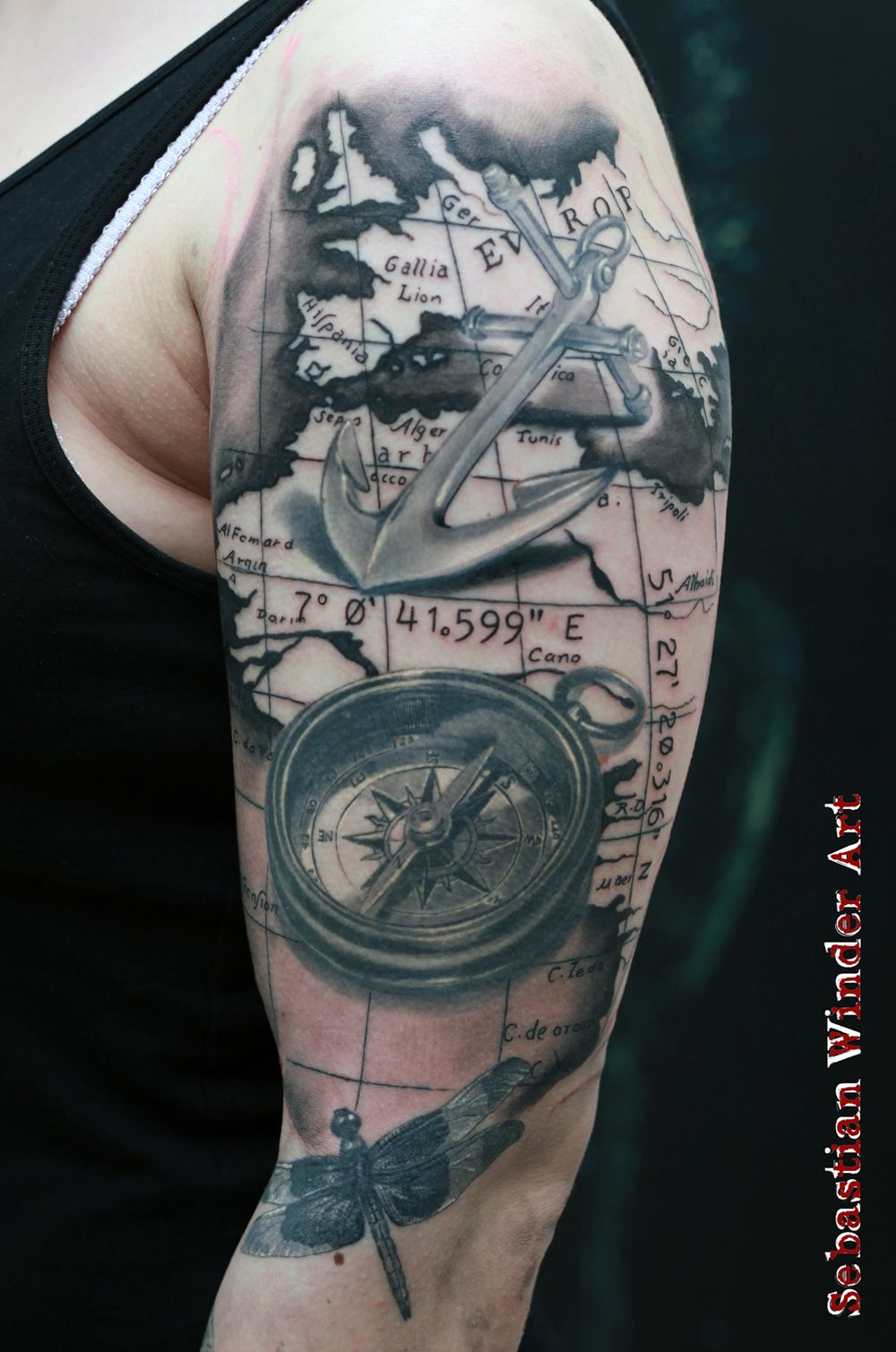 compass anchor dragonfly done by sebastian winder tattooartist from germany essen. Black Bedroom Furniture Sets. Home Design Ideas