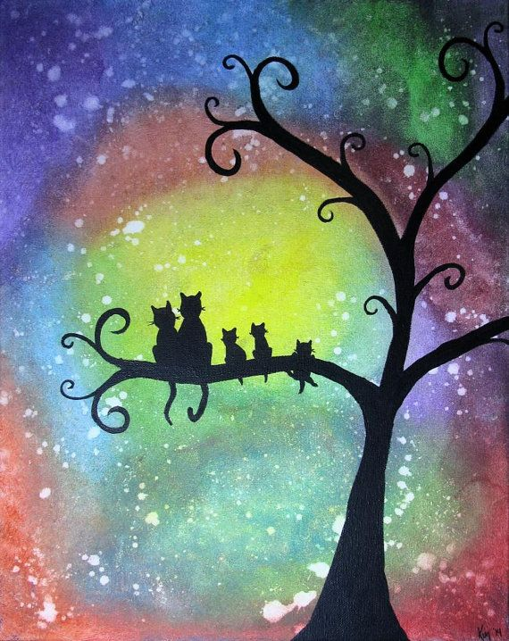 Whimsical Cat Family on Tree Silhouette Acrylic Painting ...