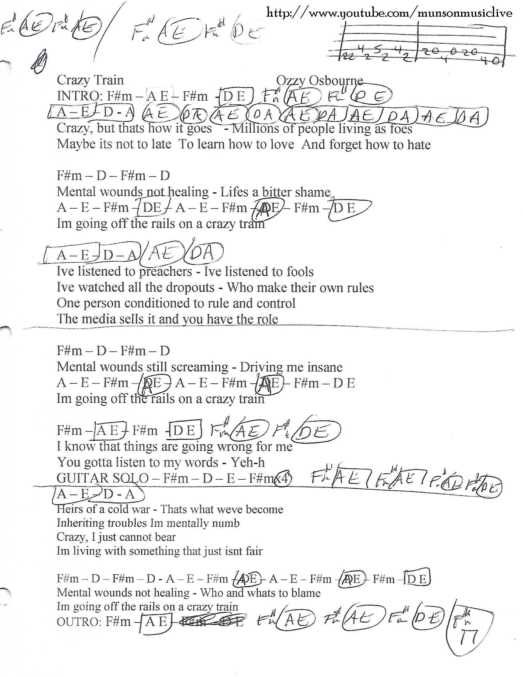 Crazy Train Ozzy Osbourne Guitar Chord Chart Guitar Lesson Chord