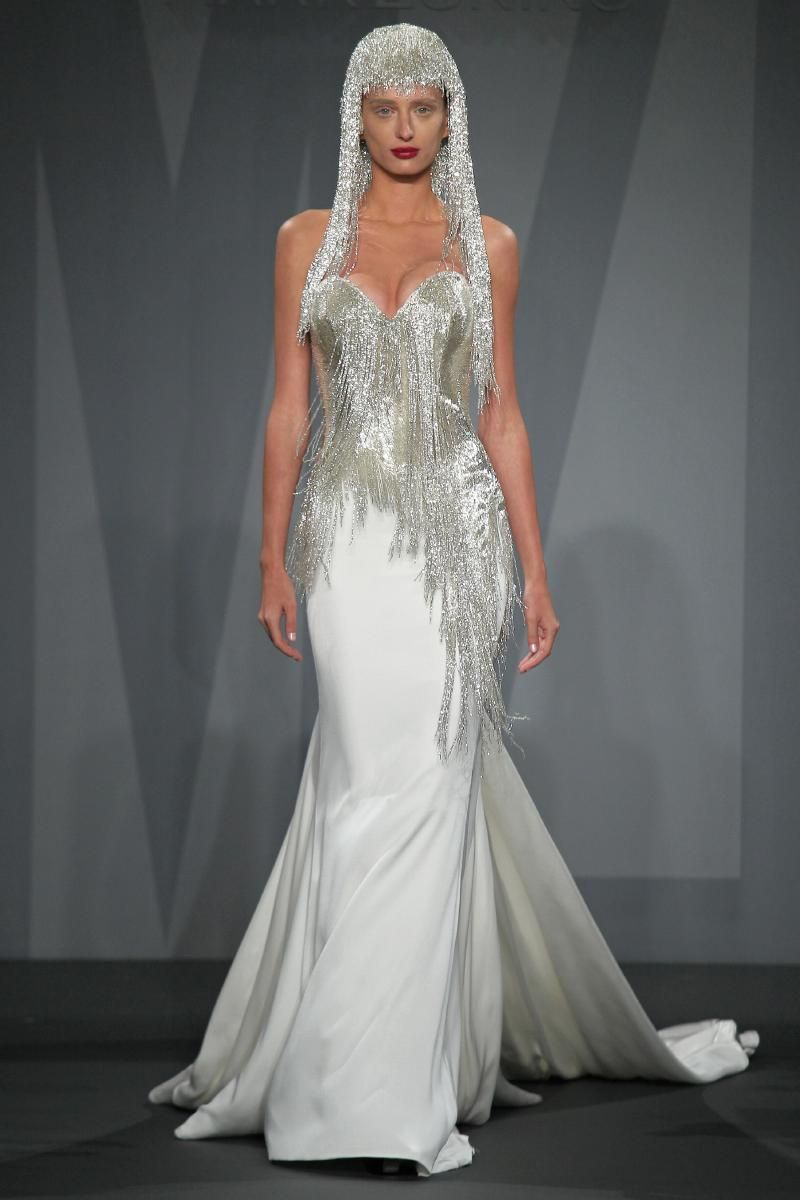 Silk sheath wedding dress  Mark Zunino for Kleinfeld  Mark zunino Mark zunino wedding dresses