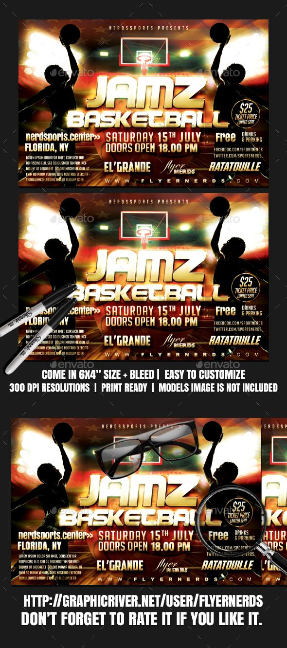 Jamz Basketball Sports Flyer Template Psd  Flyer Templates