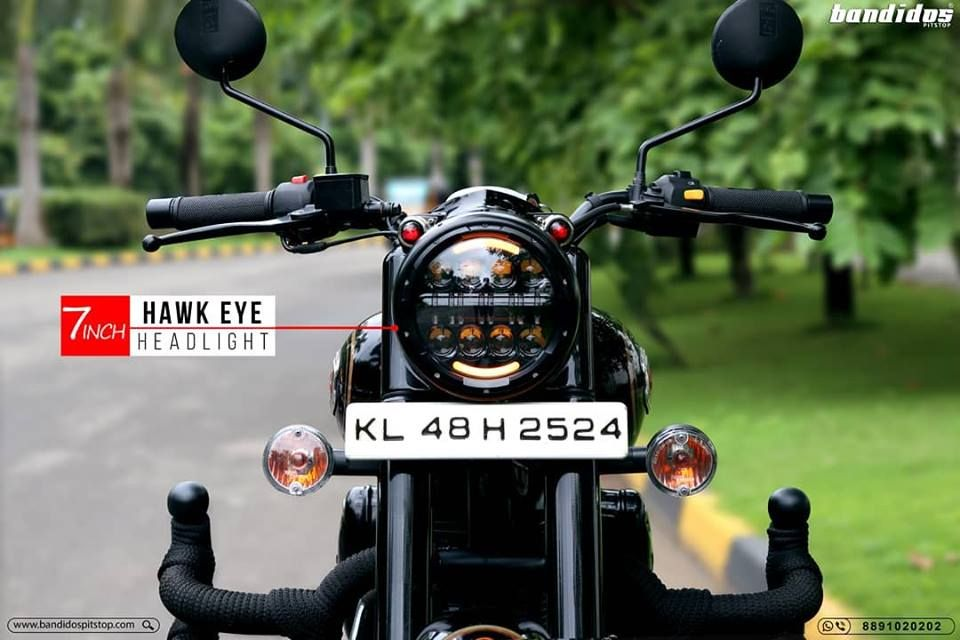 Headlights That Stand Out 7 Inch Hawk Eye Headlights For Royal Enfield For De Royal Enfield Accessories Bullet Bike Royal Enfield Royal Enfield Classic 350cc