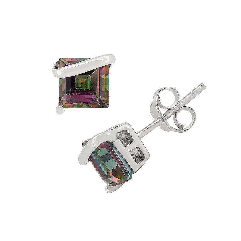 Rainbow Quartz Sterling Silver Stud Earrings, Women's, multicolor
