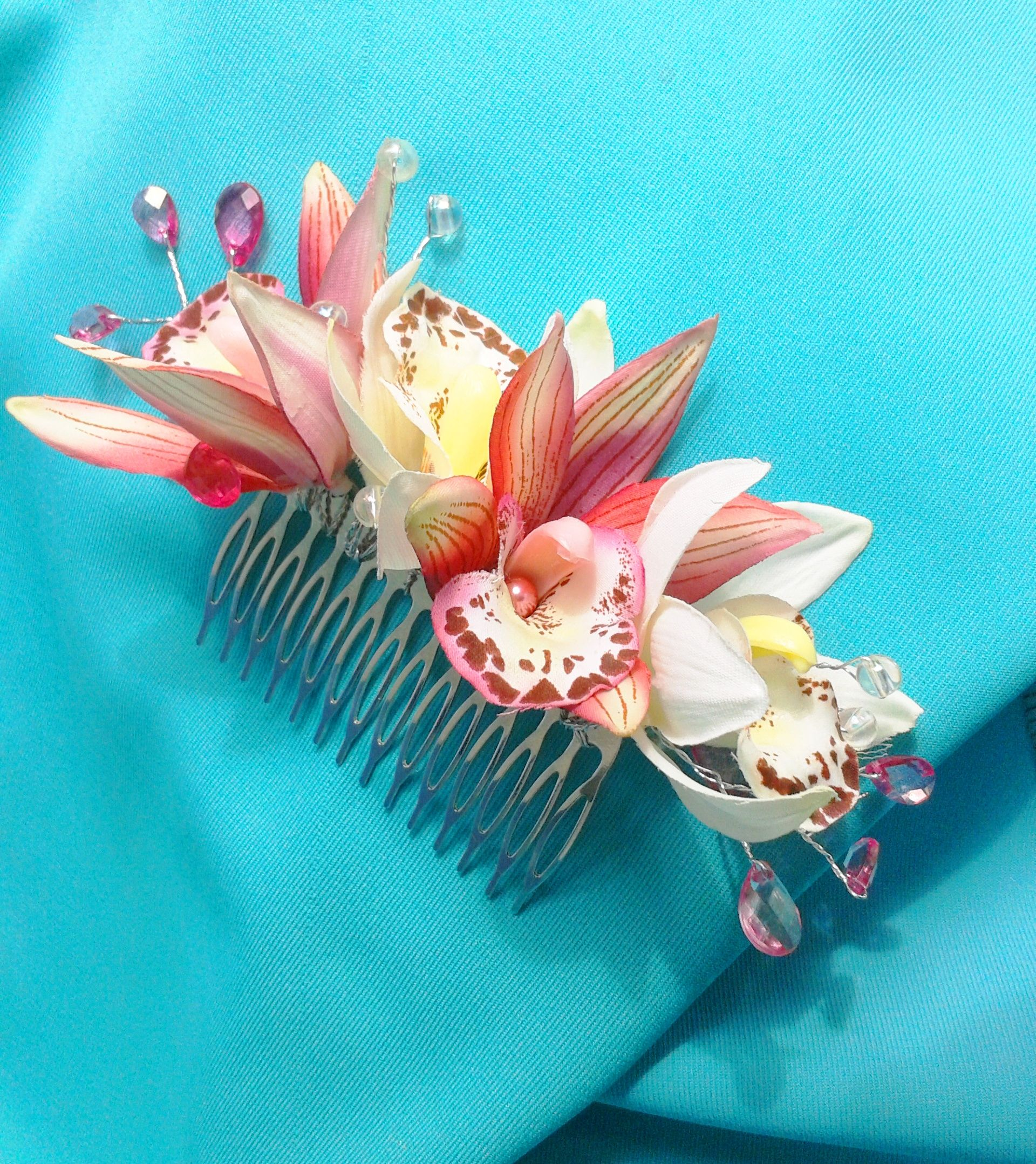 Beach Wedding Bridal Hair Comb with Orchids, Pearls and Crystals