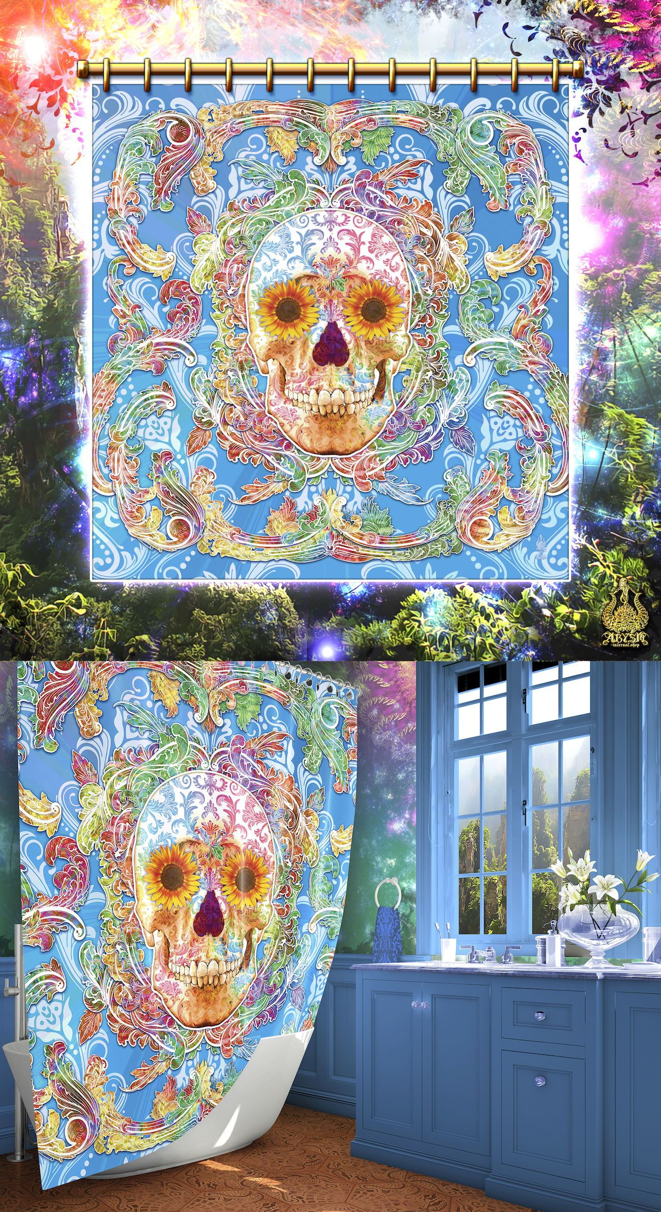 Sugar Skull Shower Curtain With Flowers Day Of The Dead Funky Artsy Home Decor Sugar Skull Shower Curtain Skull Shower Curtain Psychedelic Decor