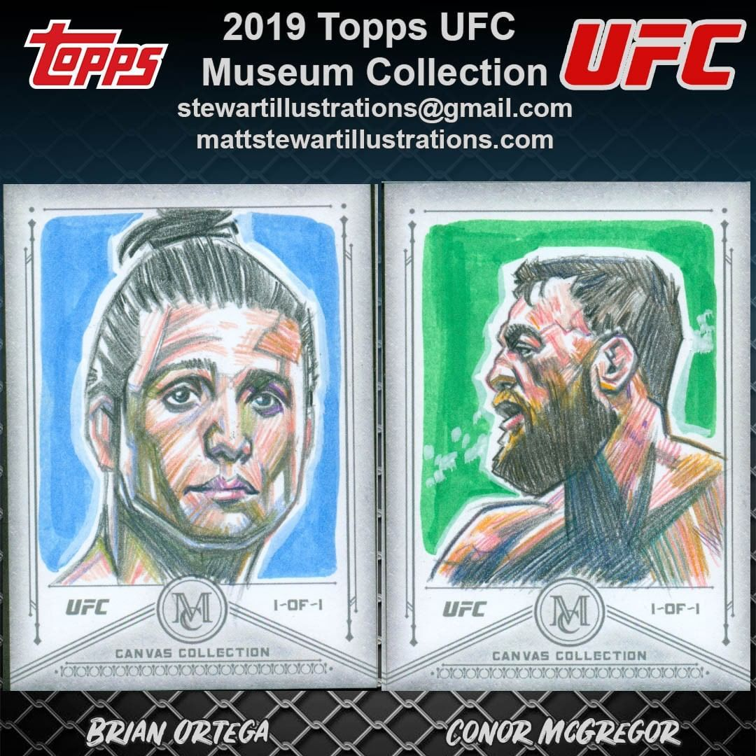 Sketch cards I created for the 2019 Topps UFC Museum Collection trading card set! These were all inc...