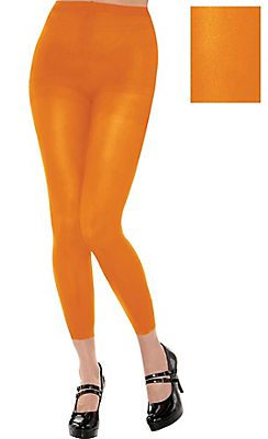 Adult Black Light Neon Orange Footless Tights