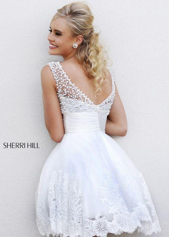Sherri Hill 4302 White Beaded Short Prom Dresses Online Vegas Wedding Dress Short Wedding Dress Wedding Dresses Beaded,Plus Size Dress For Wedding Guest