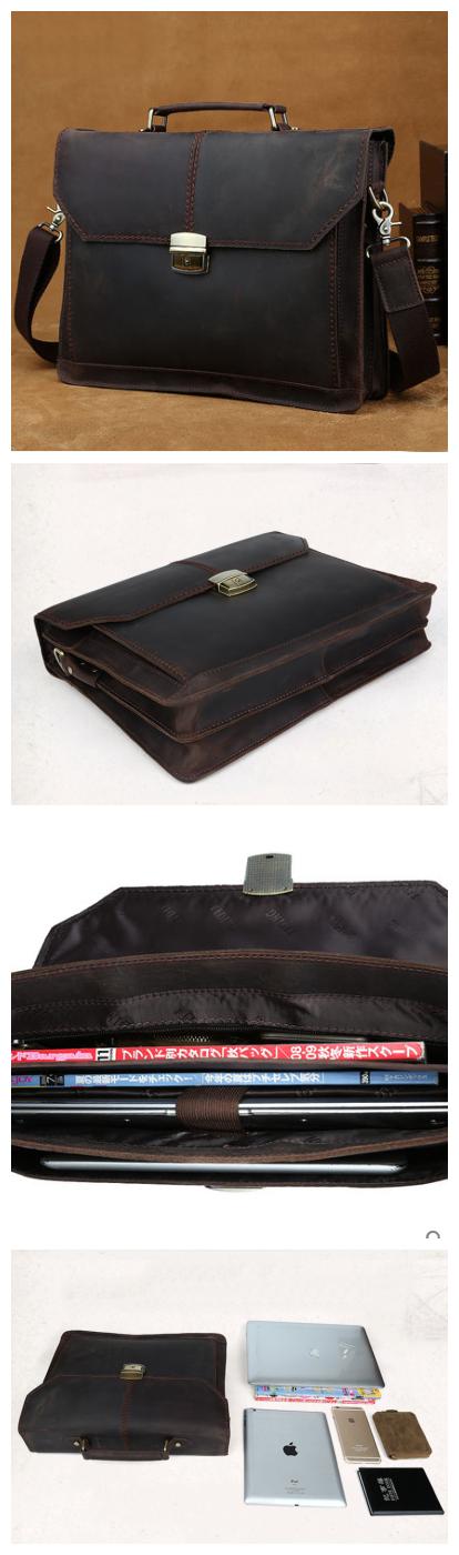 Handmade Leather messenger bag, leather shoulder bag, leather briefcase(C117) - Thumbnail 4