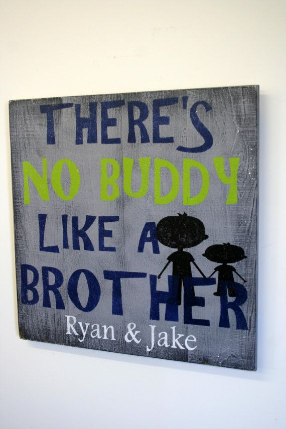 Theres No Buddy Like A Brother Pallet Sign Gray Boys Bedroom Distressed Wood Sign Personalized Sign Boys Wall Art