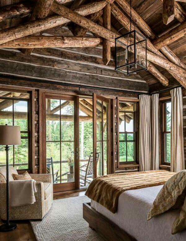 Log Home Bedroom French Doors Log Homes Cabin Homes Cabin Bedroom Decor