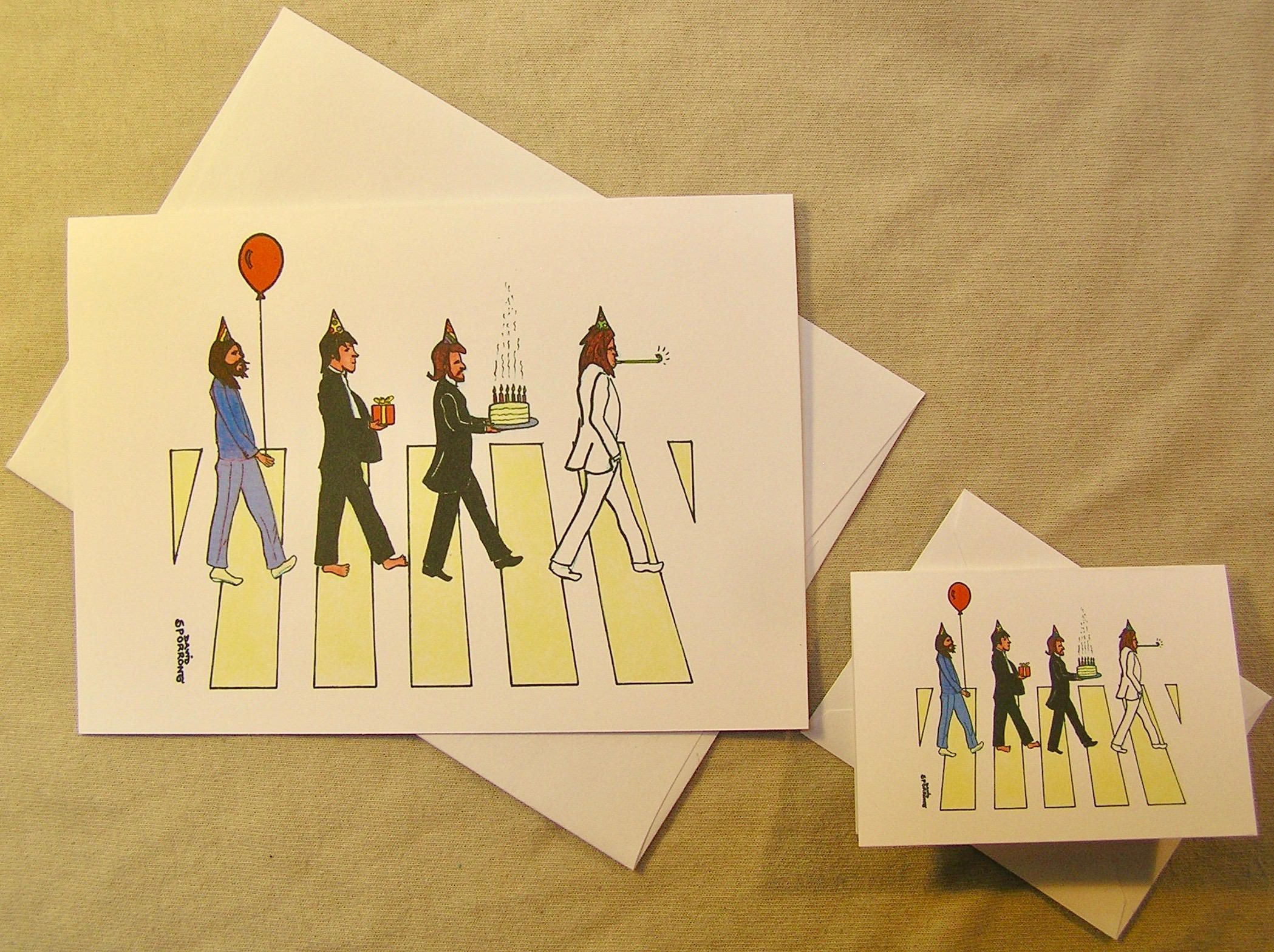 The Beatles Birthday Card Abbey Road Regular Size Card And Mini Version A Lunar Eclipse Cartoon Birthday Birthday Cards Beatles Birthday Birthday Cards Diy