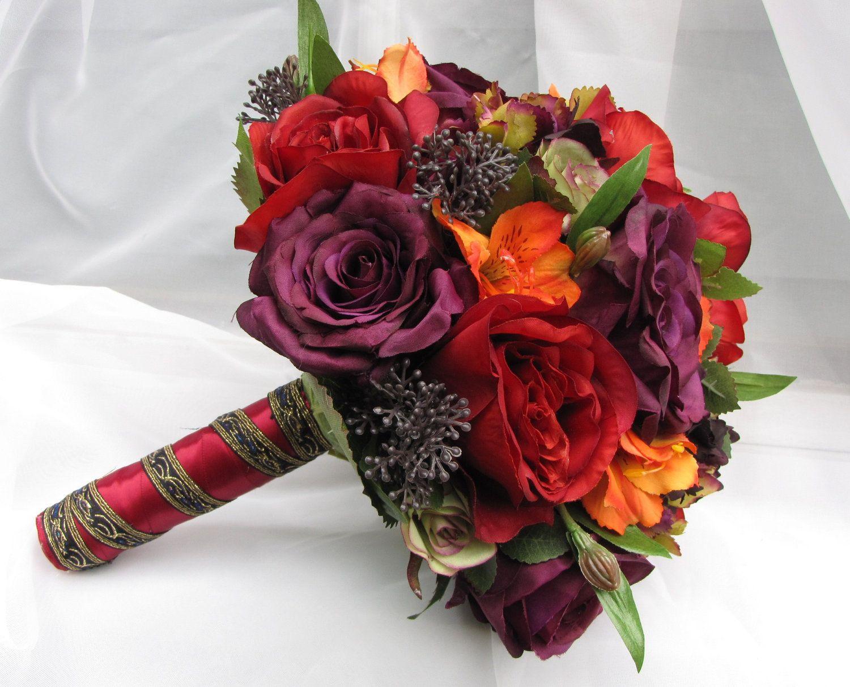 Silk Bridal Wedding Bouquet with Burgundy, Eggplant and Deep Orange ...
