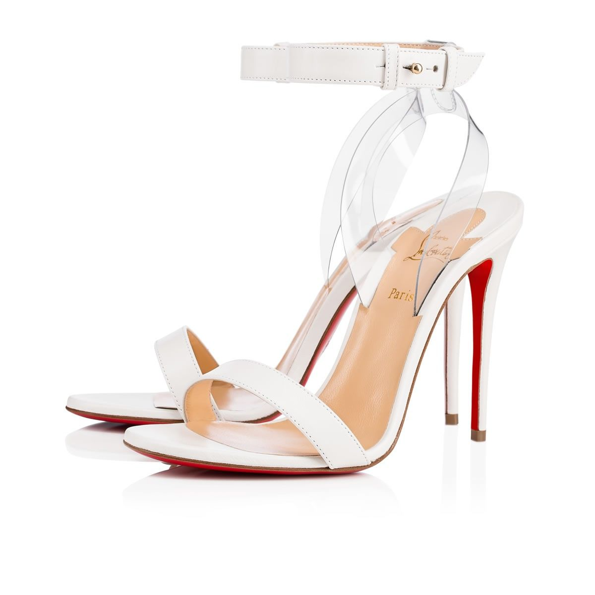 Jonatina Embodies Minimalist Elegance A Transparent Pvc Heel Feature Creates The Illusion Of Ankle Strap Sandals Heels Christian Louboutin Minimalist Shoes