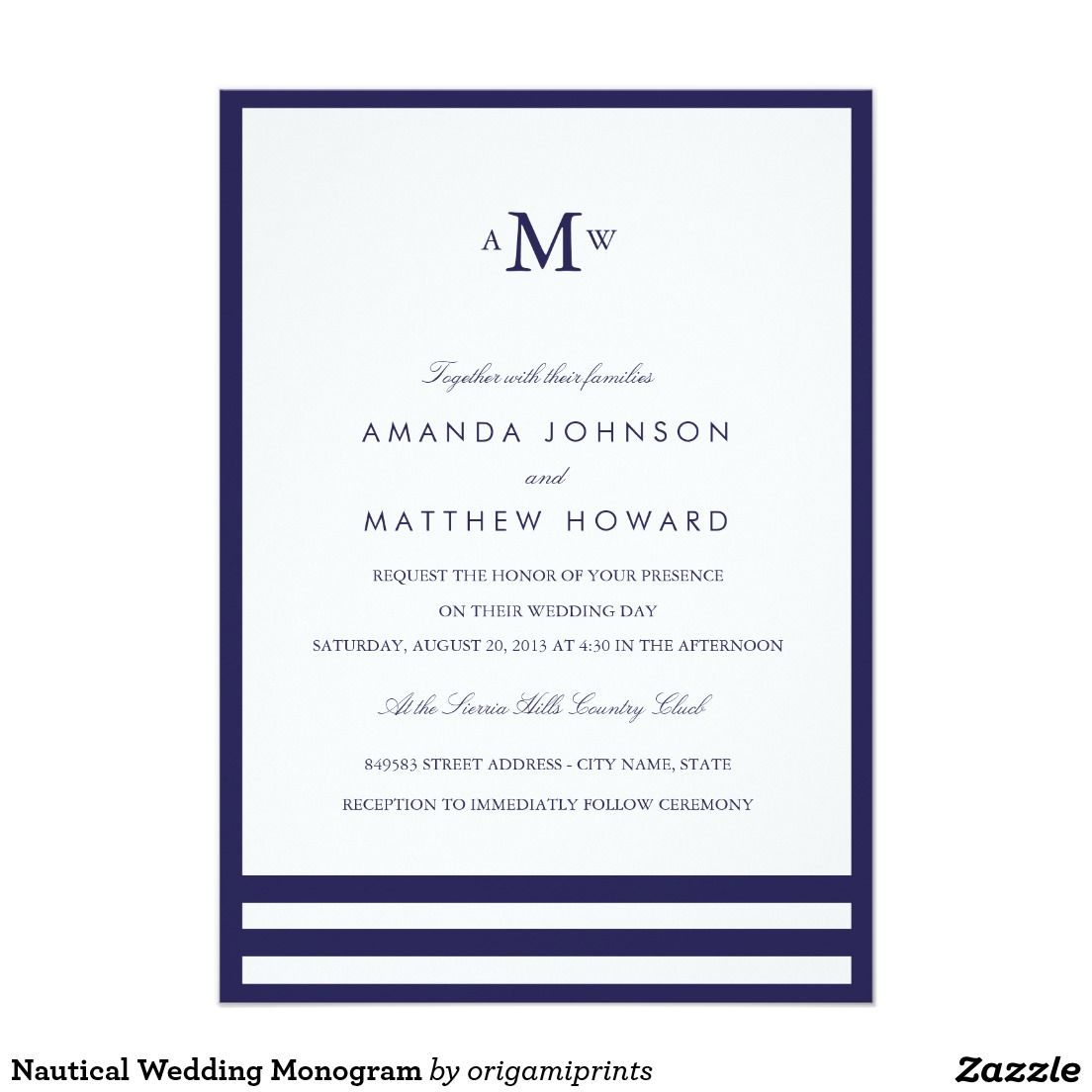 Nautical Wedding Monogram Card Wedding Monograms Nautical Wedding