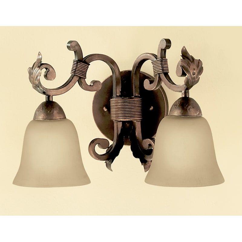 Photo of Classic Lighting 92222 11″ Wrought Iron 2 Light Vanity from the Asheville Collec Copper Bronze Indoor Lighting Bathroom Fixtures Vanity Light