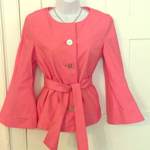 Jacket Feraud pink waist length jacket with removable belt. Never worn impulse purchase in NYC last year. Feraud Jackets & Coats