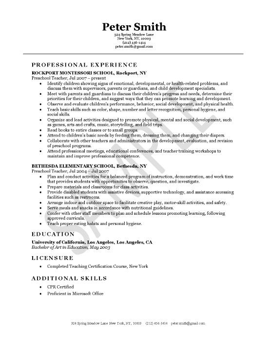 Preschool Teacher Resume Template - http\/\/wwwresumecareerinfo - sample preschool teacher resume