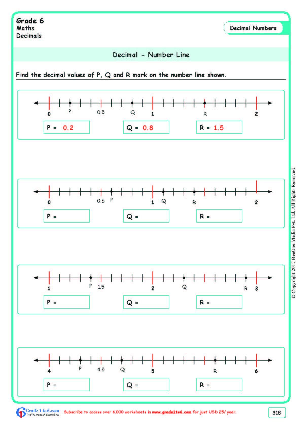 Decimal Number Line Grade 6 Math Worksheet Grade 6 Math Worksheets Number Line Line Math Math worksheet for grade 6
