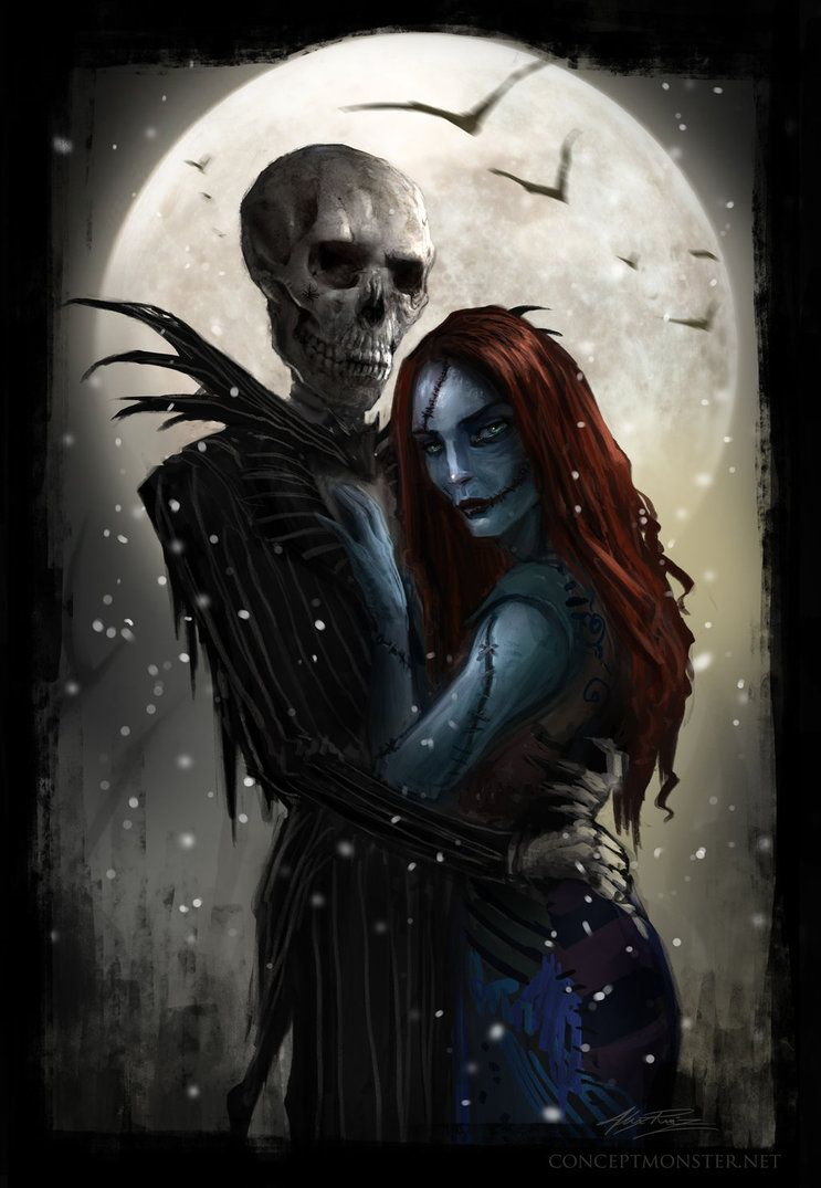 Realistic Skeleton Jack and Sally from Nightmare before