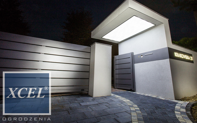 Nowoczesne Ogrodzenie Aluminiowe Horizon Massive Z Podswietlanym