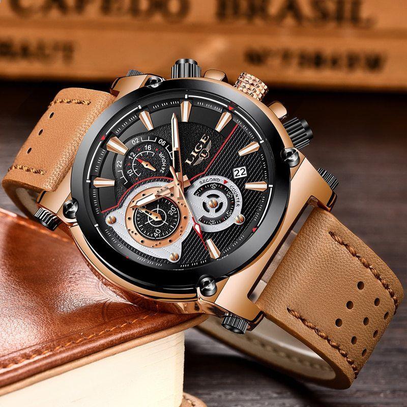 LIGE Pánské hodinky Top Brand Luxusní Quartz hodinky Pánské Módní  příležitostné kožené Vojenské Vodotěsné sportovní hodinky f68a26fcaf1
