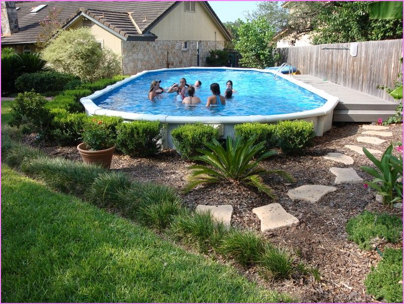 Above Ground Pool Ideas Backyard small fiberglass above ground swimming pools designs with Backyard Above Ground Pool