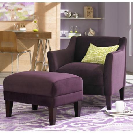 Fine Lillian Eggplant Accent Chair And Ottoman 350 Chair Evergreenethics Interior Chair Design Evergreenethicsorg