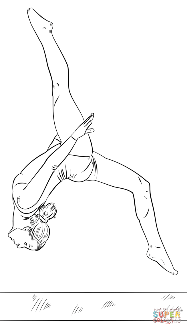 Gymnast On A Beam Super Coloring Dancing Drawings Drawing Tutorial Drawing Tutorials For Beginners