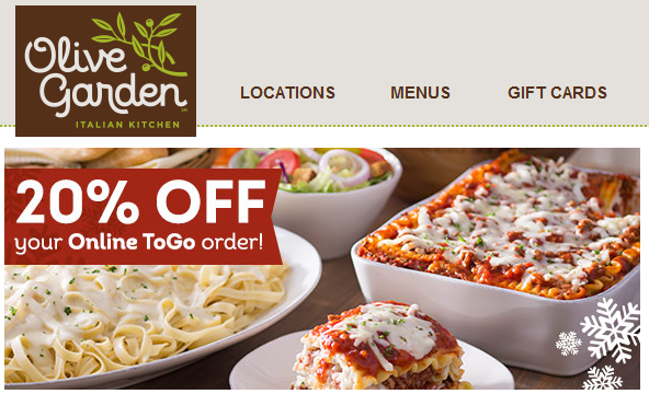 OLIVE GARDEN Cyber Monday Save 20 off Your Online