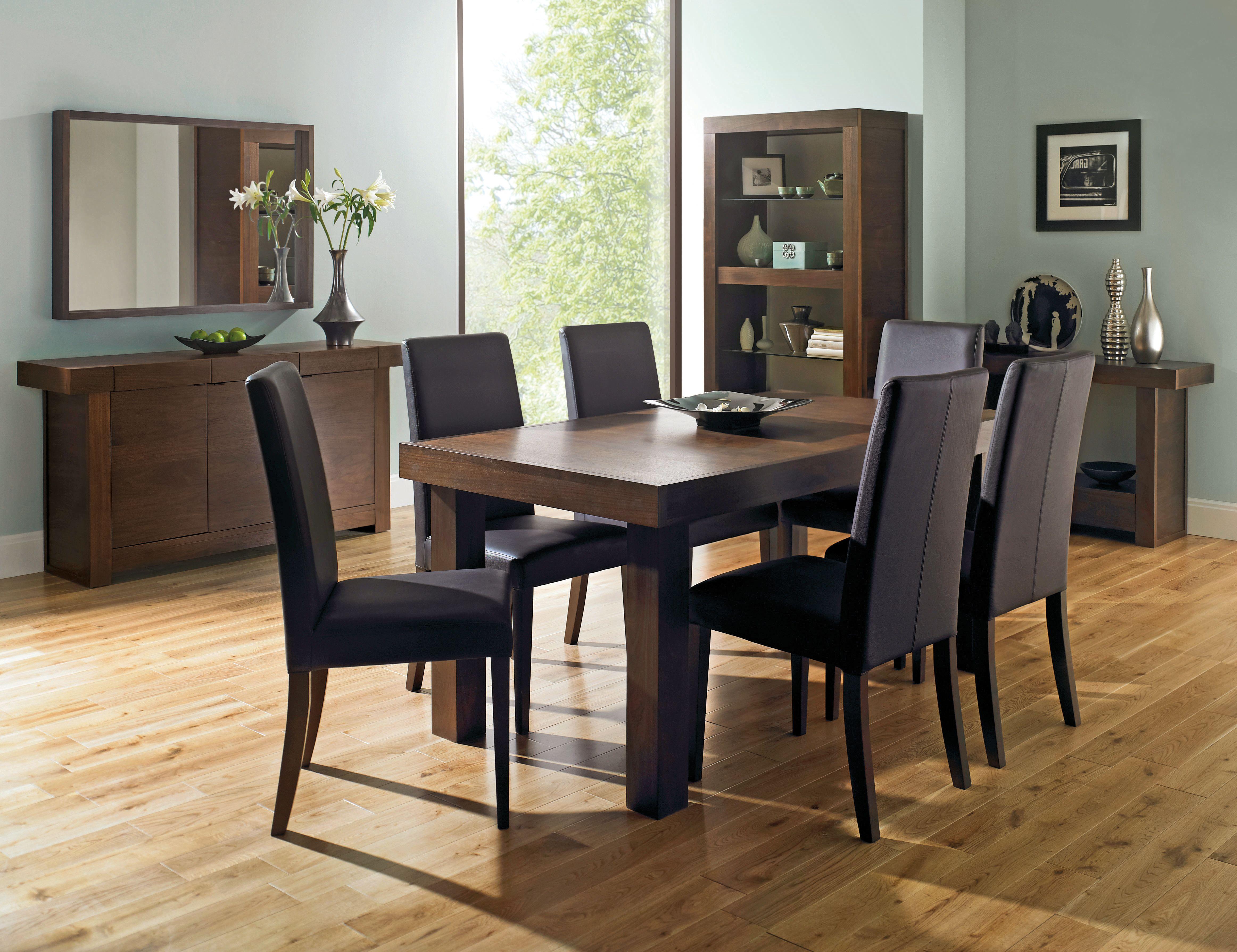 Akita Walnut 6 8 Seater Extending Dining Table