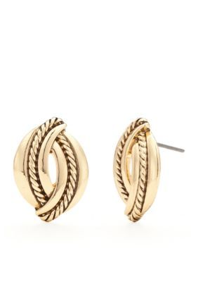 Napier  Gold-Tone Braided Button Earrings