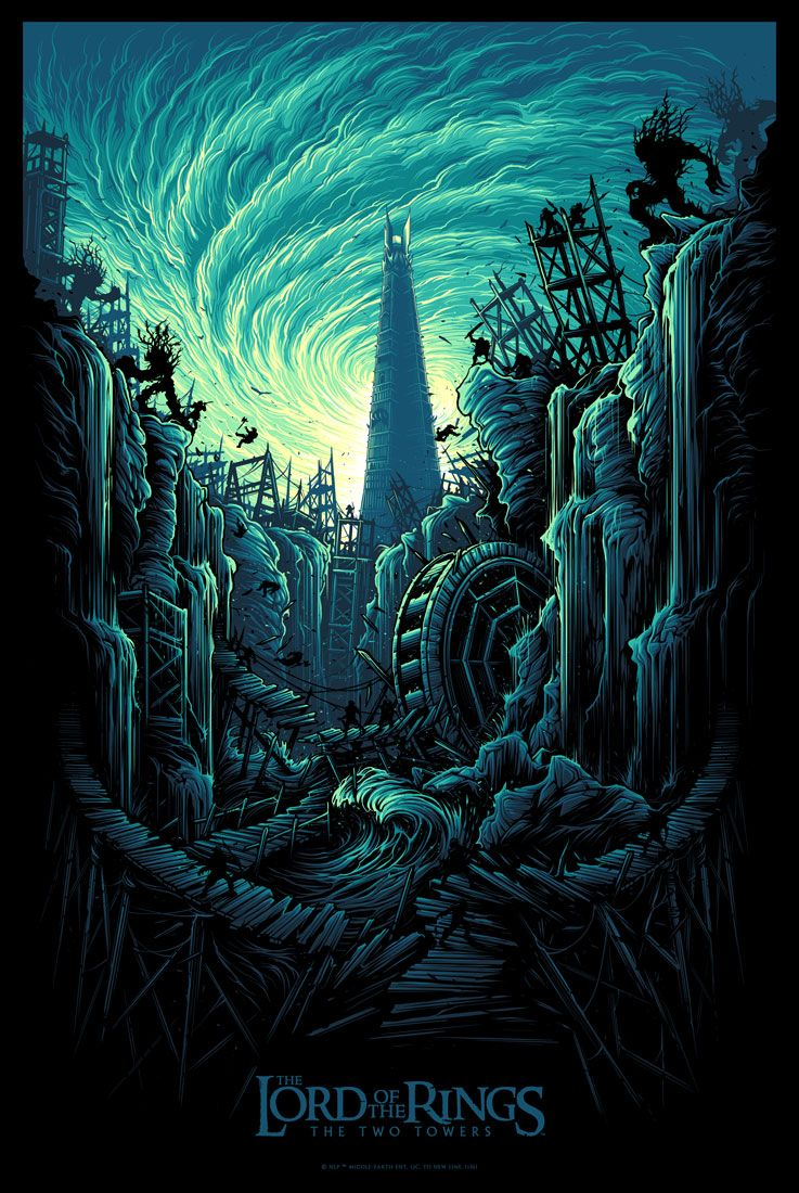 Dan Mumford Lord Of The Rings Two Towers Poster Release Lord Of The Rings Hobbit Art The Two Towers