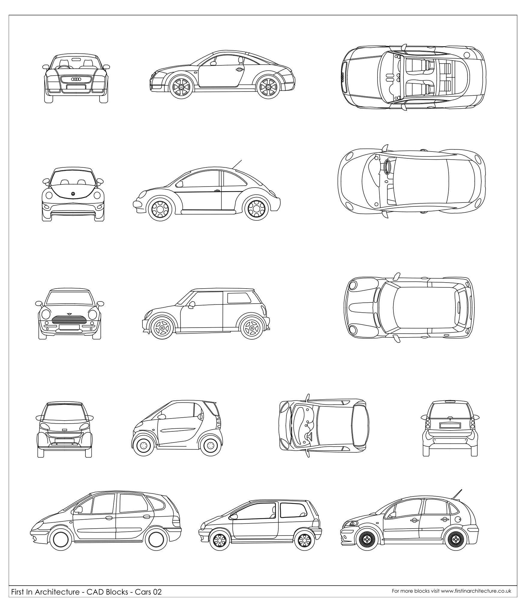 Cad blocks cars 02 first in architecture 2d for Softplan architectural design software free download