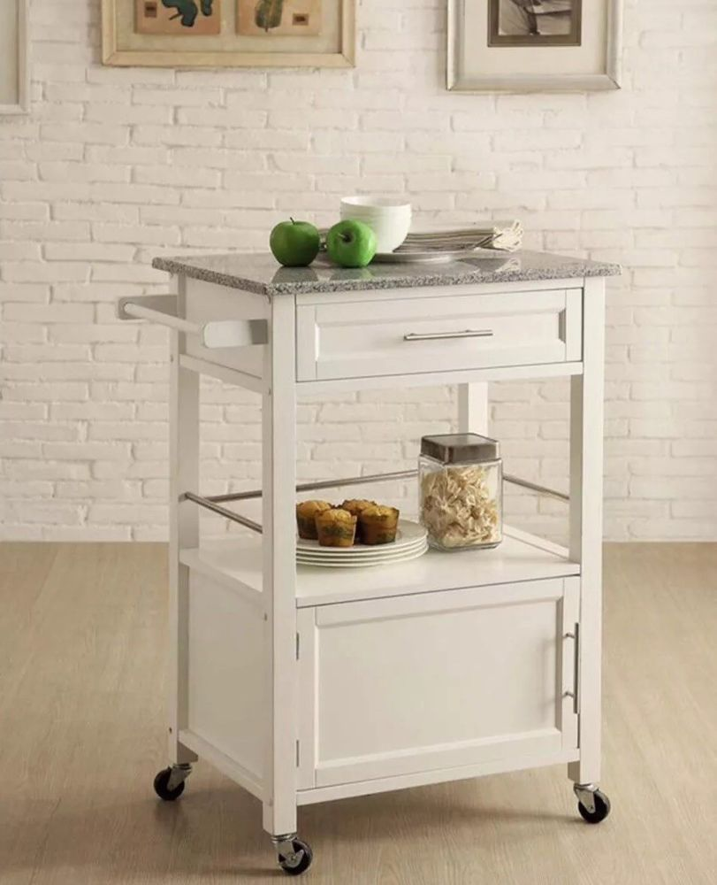 White Kitchen Cart Island With Storage Microwave Stand With Wheels Granite Top Ebay Kitchen Tops Granite Kitchen Cart Small Kitchen Cart