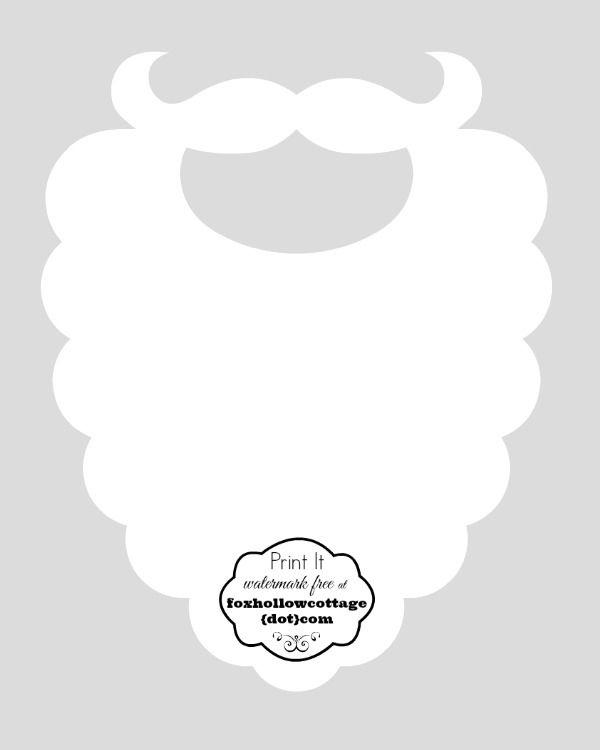 Free Christmas Printable Santa Hat and Beard Photo Booth Props Fox