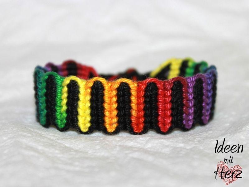 "Armband Aus Jeans Selber Machen , Freundschaftsband Friendship Bracelet ""regenbogenwelle"""